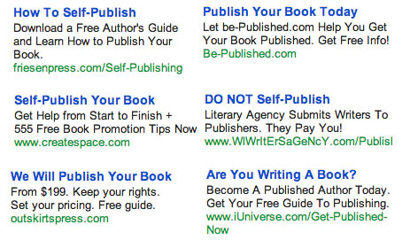 Gmail Ads for Self-Publishing