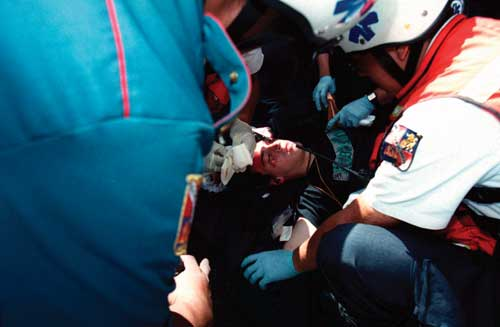Injured Boy Receiving Treatment