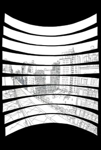 Drawing of a Cityscape, Rendered Like a Goode Homolosine Projection