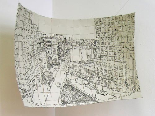Pen-and-Ink Sketch of a City Street