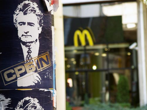 Karadžić Poster in Front of a McDonald's