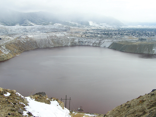 The immense crater of the Berkeley Pit, as seen from the north.
