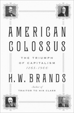 The cover of the book, American Colossus: The Triumph of Capitalism', which features photo of American capitalists Cornelius Vanderbilt, Andrew Carnegie, John D. Rockefeller, 