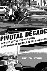The cover of the book, Pivotal Decade, with a photo of cars in the decade of the 1970's