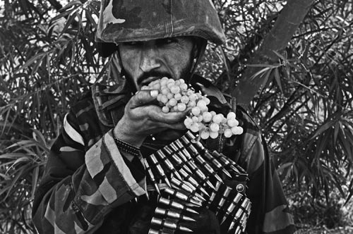 Swathed in ammunition, a soldier eats green grapes directly off of large bunch.
