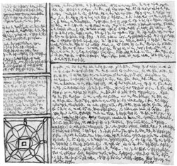 A page of microscript, a tiny scrawl that covers the page illegibly.