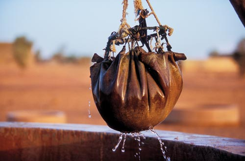 Suspended above an open well is a bag of water. A basketball-sized globe, it appears to be an animal skin, gathered together and fastened to a ring on top, with a rope used to haul it up.