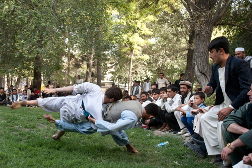 Men gamble on a Karate match in Shar-e-Now Park, in downtown Kabul.