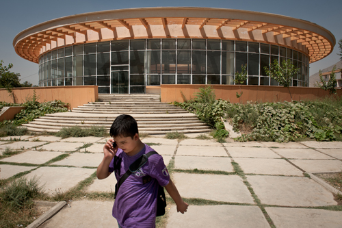 A student walks past the cafeteria at the Kabul Polytechnic University in Karte Mamourin.