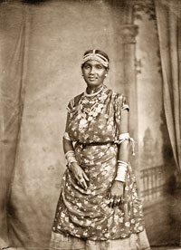A Coolie woman in traditional dress.