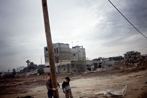 Children play in the Zeitoun neighborhood on the outskirts of Gaza City.