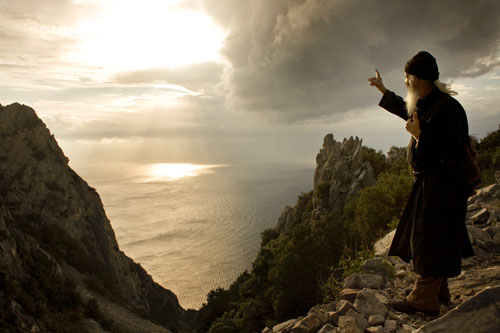 Father Kalistratos, in the remote Athonite region of Mount Athos in Greece
