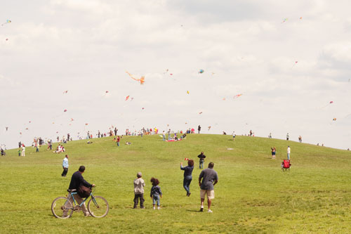 The hill, green with spring grass, covered with many people flying kites and running or playing.