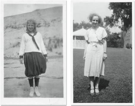 Louise Bradley on the beach in Wellfleet (left) and as a college student (courtesy Wylie House Museum, a department of the Indiana University Libraries, Bloomington, IN)