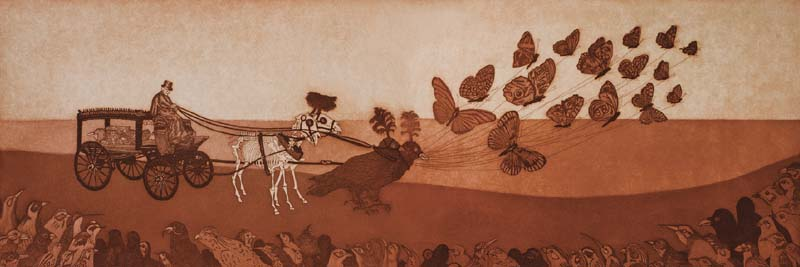 "The ​Starling's​ Funeral (2008). Aquatint on Sakamoto paper, 12 x 35.5"". Collection of Audrey Niffenegger, Chicago."