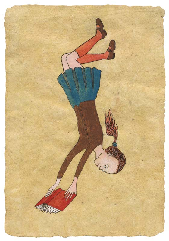 "Falling ​(2004). Ink and gouache on handmade paper. 8 x 5.5"". Collection of Mary Jean Thomson, Riverwoods, IL."