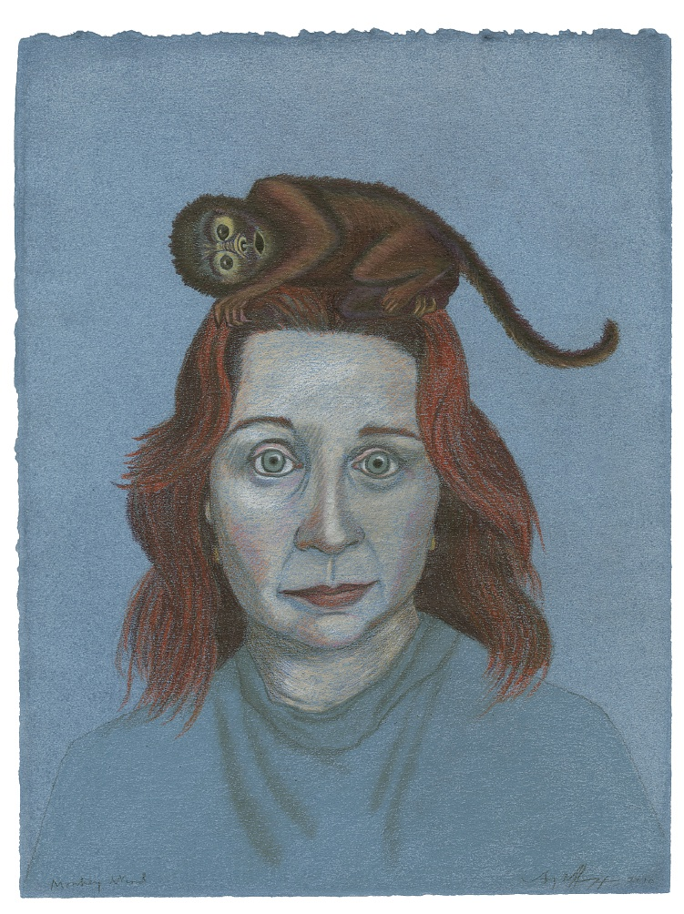 "Monkey​ Mind (2010). Colored pencil on hand-dyed paper. 12 x 9"". Collection of Jim Tonsgard, Chicago."