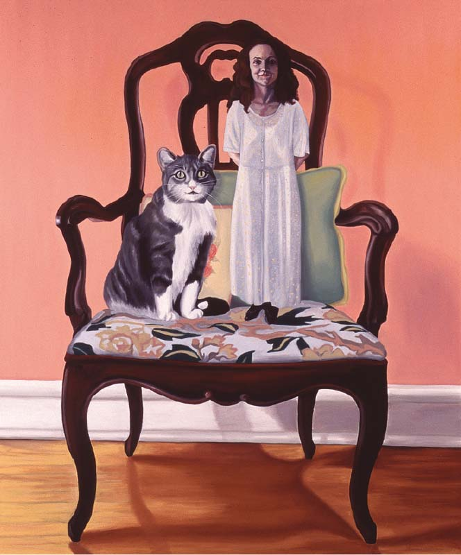 "Pam​ and ​Zuzu ​(1995). Oil on canvas. 52 x 40"". Collection of Audrey Niffenegger, Chicago."