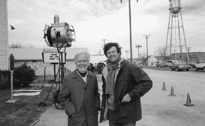 Horton Foote and director Bruce Beresford on set of Tender Mercies, 1981. (Courtesy of Degolyer Library, Southern Methodist University, Dallas, Texas)