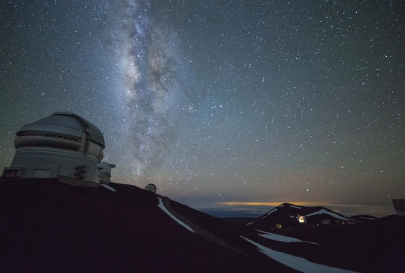 The Milky Way as seen from Mauna Kea on May 17, 2015. Foreground: Gemini Telescope. (Mike Orso)