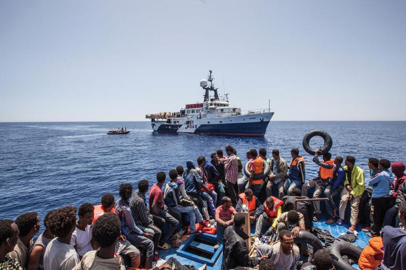 The rescue of 561 migrants from the Mediterranean Sea in May 2015 by the Migrant Offshore Aid Station ship Phoenix.