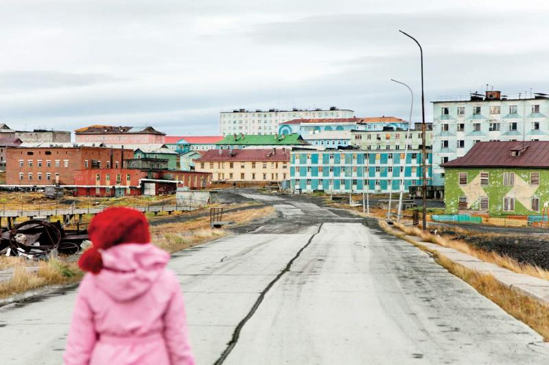 Tiksi's main road, which leads to the airport, its lifeline to the rest of Russia.