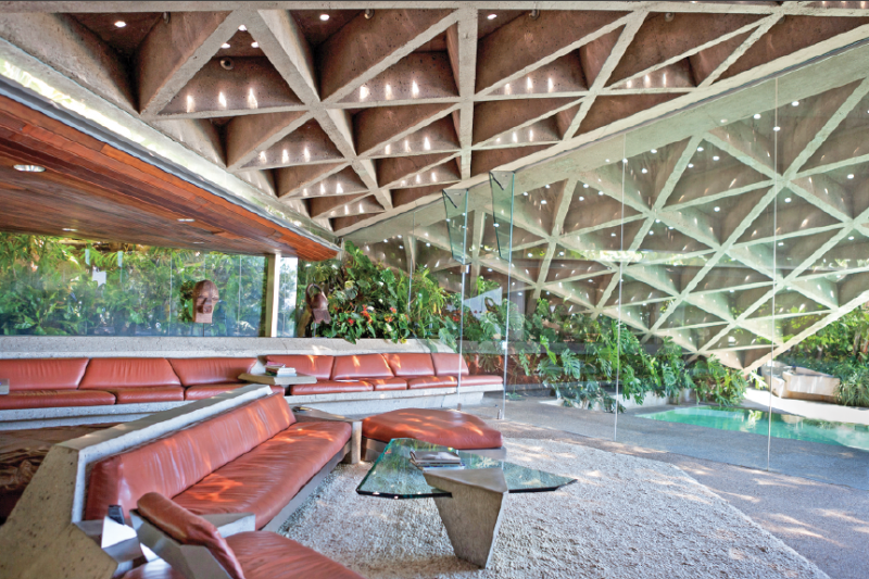 The Sheats–Goldstein residence was originally built in 1963. After James Goldstein, the home's current owner, bought it in 1972, a series of renovations—including a koi pond, glass enclosures, and fully retractable skylights—were implemented over the next couple of decades. (Elizabeth Daniels)