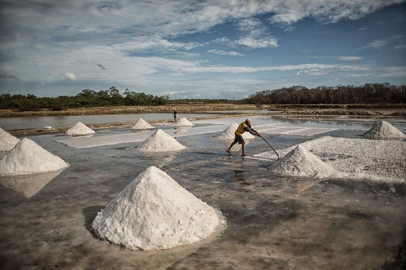 Artisanal-salt producers have been replaced, for the most part, by a mechanized process. The job is physically demanding and involves long days in the sun, with little protection from the salt's corrosive effects on the skin. A salt worker typically earns the equivalent of 30 cents per wheelbarrow of salt.