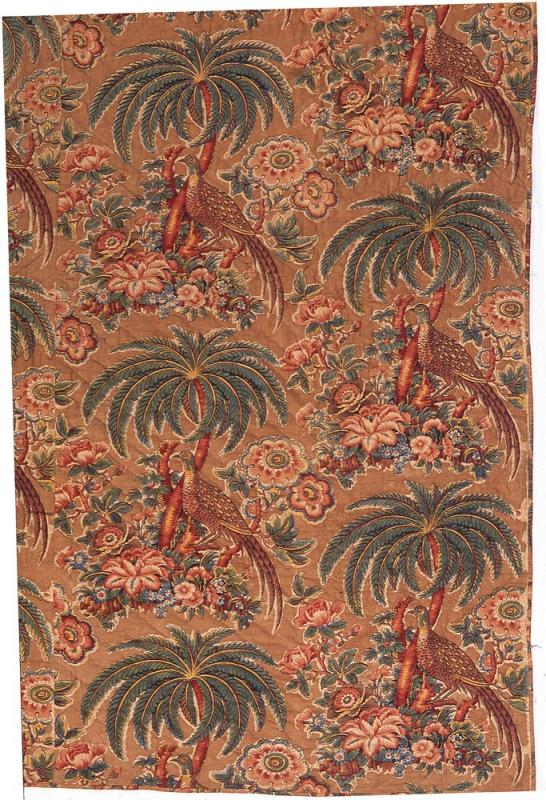 A wholecloth quilt made of English calico features the combination of birds and exotic motifs popular during Cole's apprenticeship in the cotton industry and reflected in the carpet pattern he chose for his studio chair.  Bannister Hall printworks in Lancashire first produced the block-printed design by Charles Swainson circa 1815. (Courtesy of the Winterthur Museum. Gift of Henry Frances Dupont, 152.0250.002.)