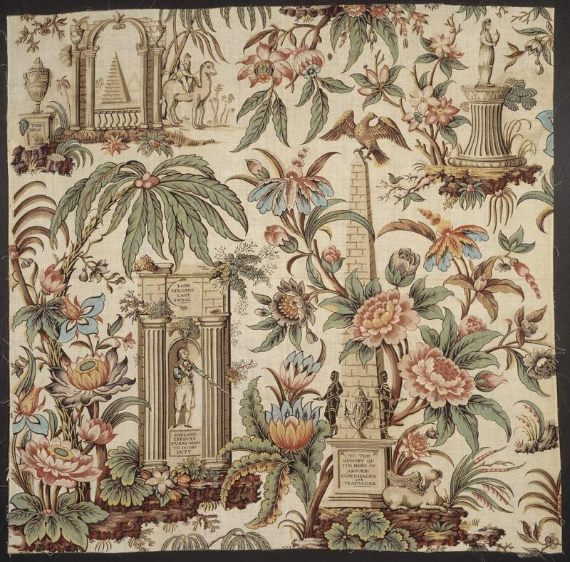 Cotton fabrics printed with landscape figures offered Cole strategies for composing paintings that do more than simply depict scenery. This block-printed chintz design by John Bury, printed in Lancashire, England circa 1806–1807, celebrates the heroism of Admiral Horatio Nelson. (Courtesy of the Victoria & Albert Museum, t.98-1959)
