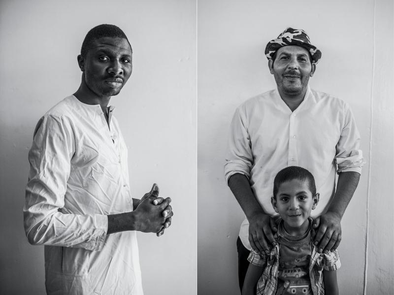 (L): Folly, twenty-seven, a baker from Nigeria. (R): Ahmed Ali, forty, a tile manufacturer, with his son, Usama, six, from Syria.