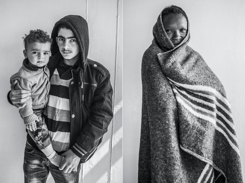 (L): Abdul Rhaman, fifteen, with his brother Karim, from Syria. (R): A migrant from Nigeria. (Name and age not disclosed.)