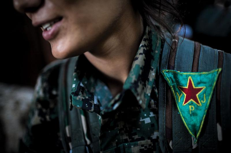 A member of Kurdish Syria's YPJ unit, an all-female branch of the region's military forces. (Erin Trieb)