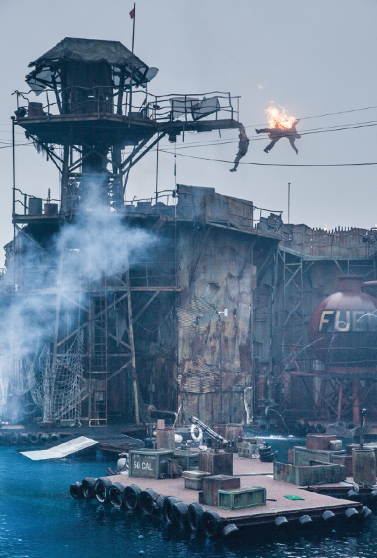 A stuntman performs a high fall at the Waterworld show, Universal Studios Hollywood. Live shows help many stunt people earn a living and are often a stepping-stone to better-paying film and television jobs.