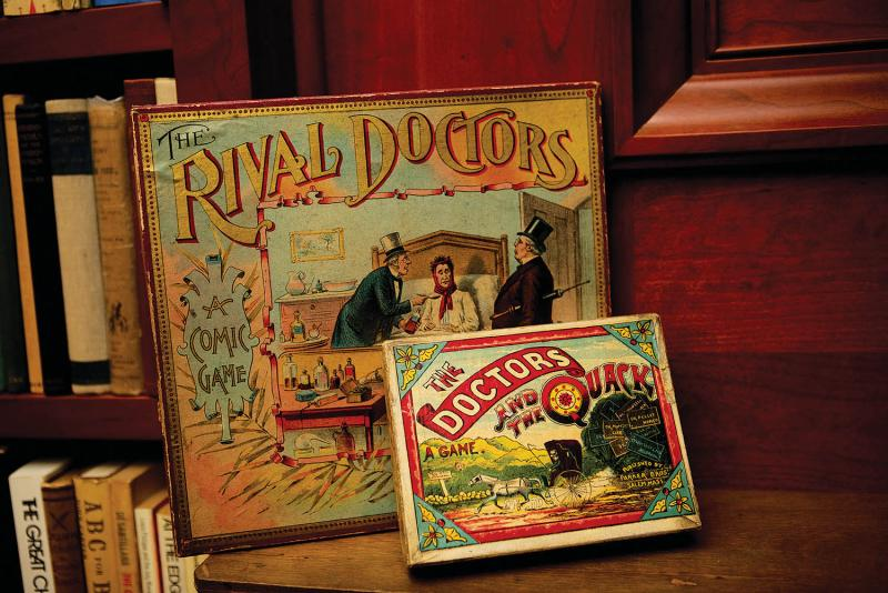 Nineteenth-century quackery board games from Helfand's private collection. (Kirsten Luce)
