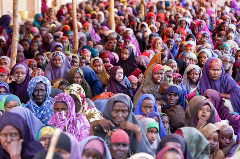 Somalia's succession of droughts and its twenty-year civil war have driven hundreds of thousands of Somalis on a mass exodus to Kenya, when programs like this one, run by aid group Saacid in Mogadishu, become too overrun to provide care for all.
