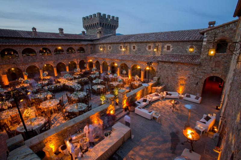 A private dinner at the Castello di Amorosa Winery in Calistoga, Napa Valley. (©Peter Menzel / www.menzelphoto.com)
