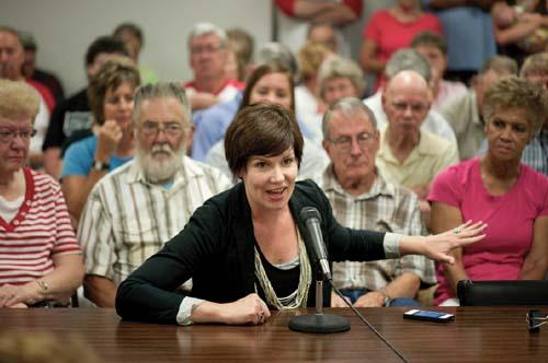 BOLD Nebraska's executive director Jane Kleeb testifies at the York County hearing in July.