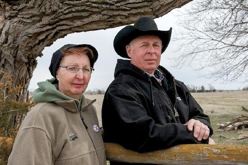 Ken and Karen Prososki on the site where KXL will cross their Loup River pastureland if President Obama approves the permit.