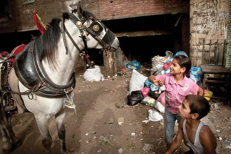 Children play with a horse in the garbage village.