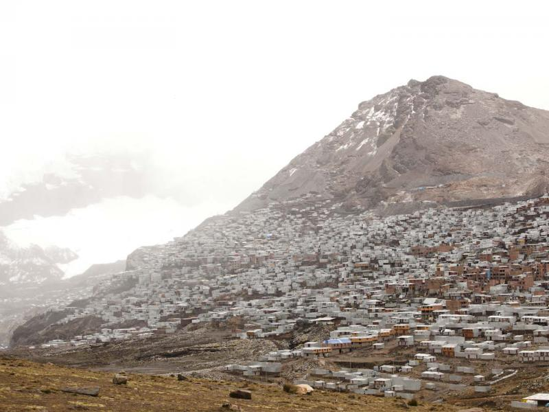The approach to La Rinconada, a gold-mining town nestled under a glacier in the Peruvian Andes.