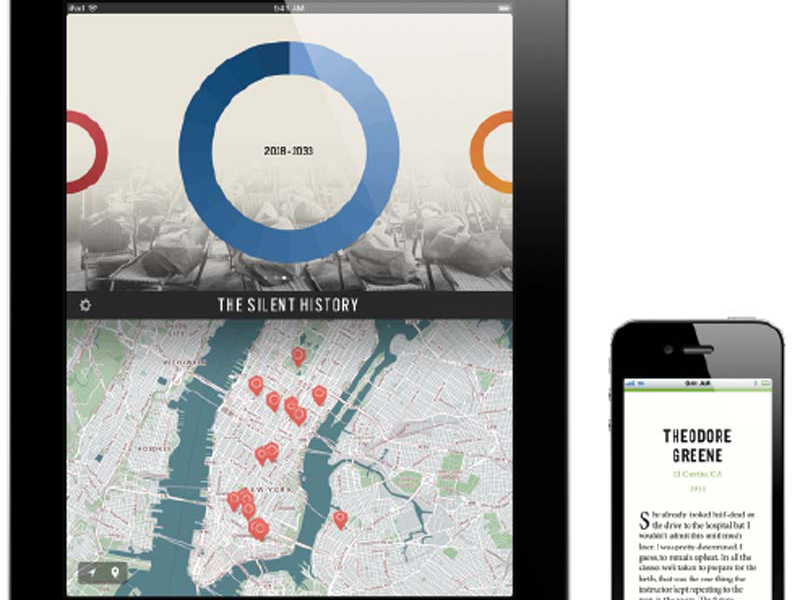 The ​Silent ​History, a serialized, interactive novel produced for the iPhone and iPad by Ying Horowitz & Quinn.