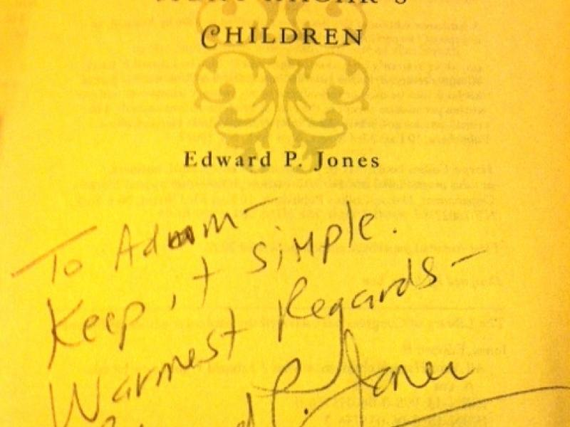 Edward P. Jones's message to the author.