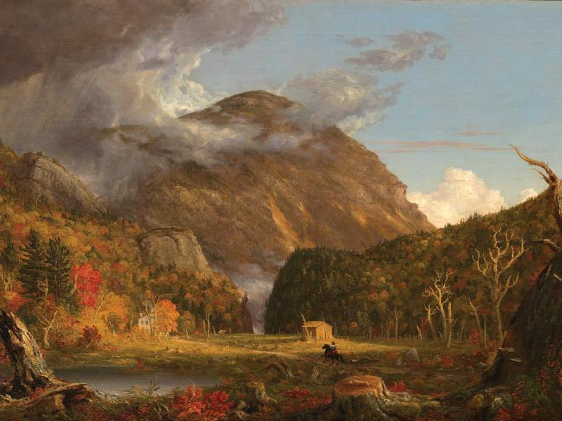 """Thomas Cole, <i>A View of the Mountain Pass Called the Notch of the White Mountains</i>, 1839. Oil on canvas, 40-3/16"""" x 61-5/16"""". (Courtesy of the National Gallery of Art /Andrew W. Mellon Fund)"""