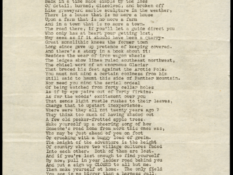 "The first manuscript page of Robert Frost's poem ""The Directive,"" which was published in the Winter 1946 issue of VQR. (The VQR Archives in the Albert and Shirley Small Special Collections Library at the University of Virginia)"
