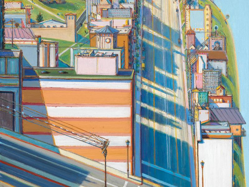 "Wayne Thiebuad, San Francisco West Side Ridge, 2001. Oil on canvas, 36 x 36"".  (ART ©WAYNE THIEBAUD / LICENSED BY VAGA, NEW YORK, NY. COURTESY OF SMITHSONIAN AMERICAN ART MUSEUM, WASHINGTON DC / ART RESOURCE, NY)"