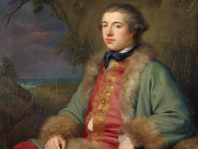 James Boswell (1740–1795), diarist and biographer of Dr. Samuel Johnson. Painting by George Willison, 1765. The owl above Boswell's head is either a symbol of wisdom, or suggests his delight in nighttime activities. (Scottish National Gallery)