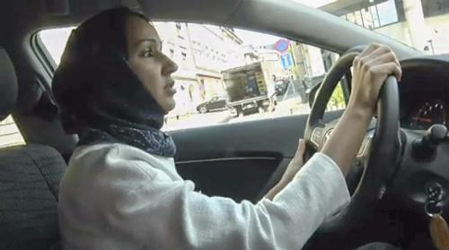 A video still of Al-Sharif driving in Oslo, an action forbidden in Saudi Arabia by a fatwa. (courtesy of Aftenposten TV)