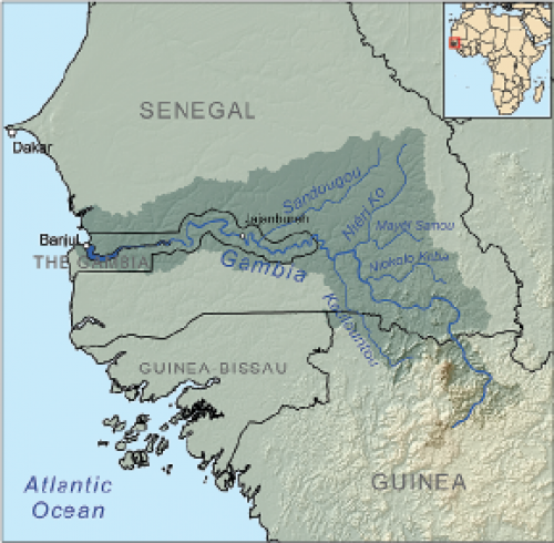 Gambia River drainage Basin (Courtesy of Wikimedia Commons. Illustration created by Karl Musser.)