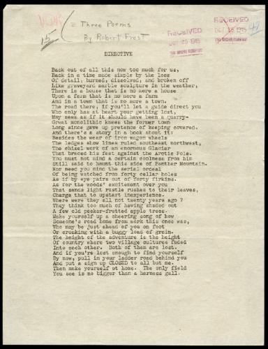 robert frost and the modern narrative vqr online the first manuscript page of robert frost s poem the directive which was published in the winter 1946 issue of vqr the vqr archives in the albert and